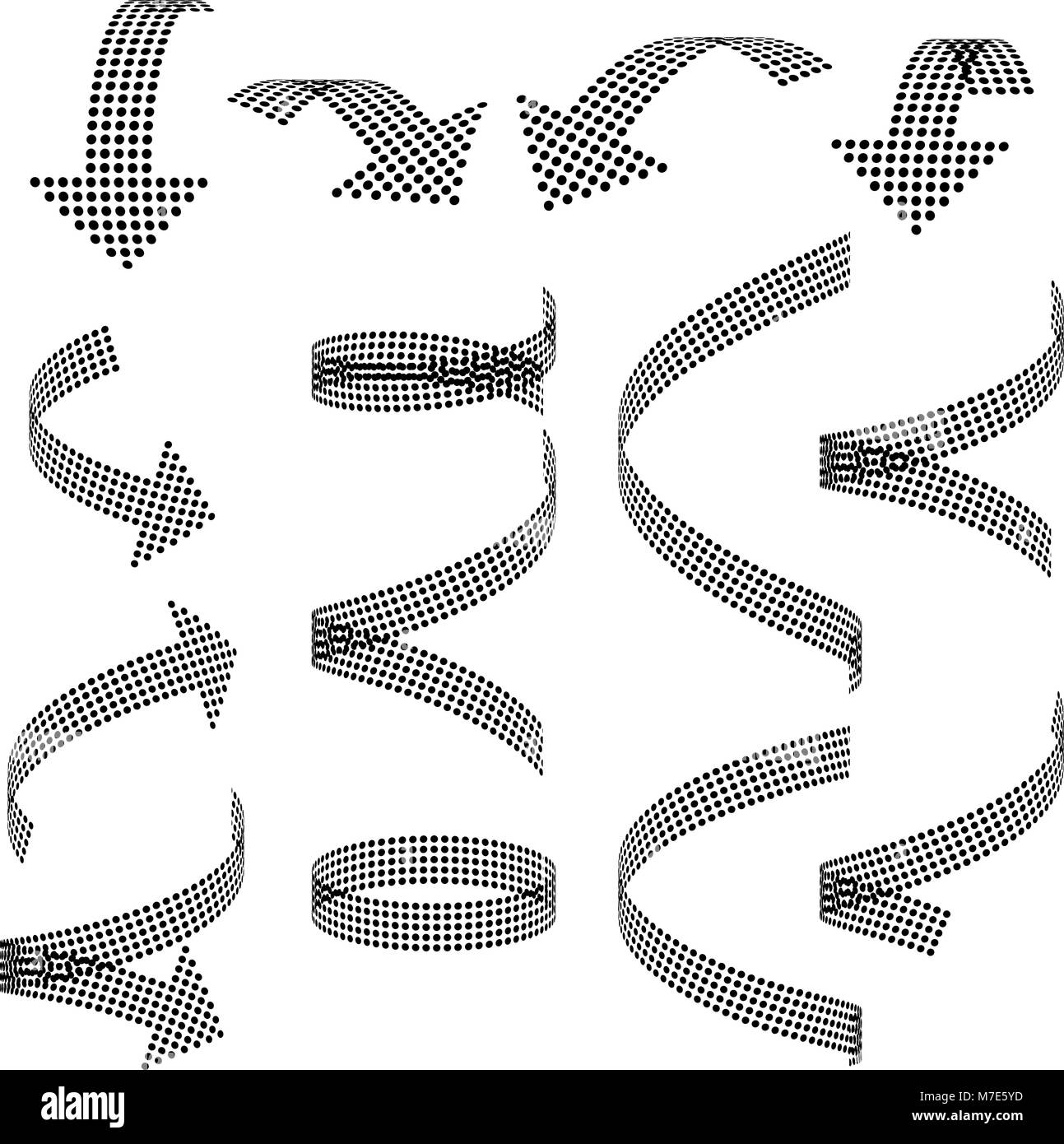 Set of vector arrow icons. Dotted halftone graphic effect. - Stock Image