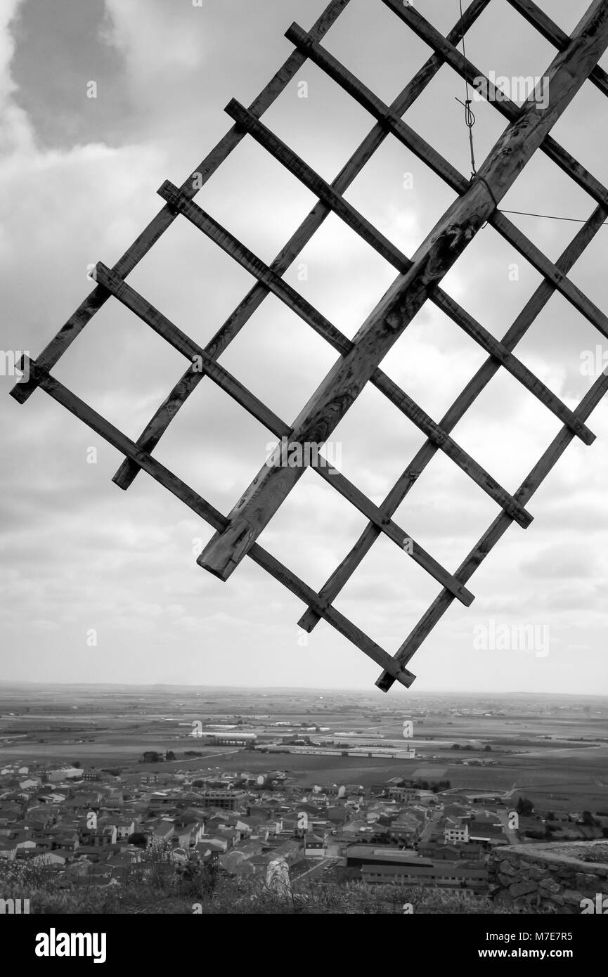 Windmill wing in Black & White - Stock Image