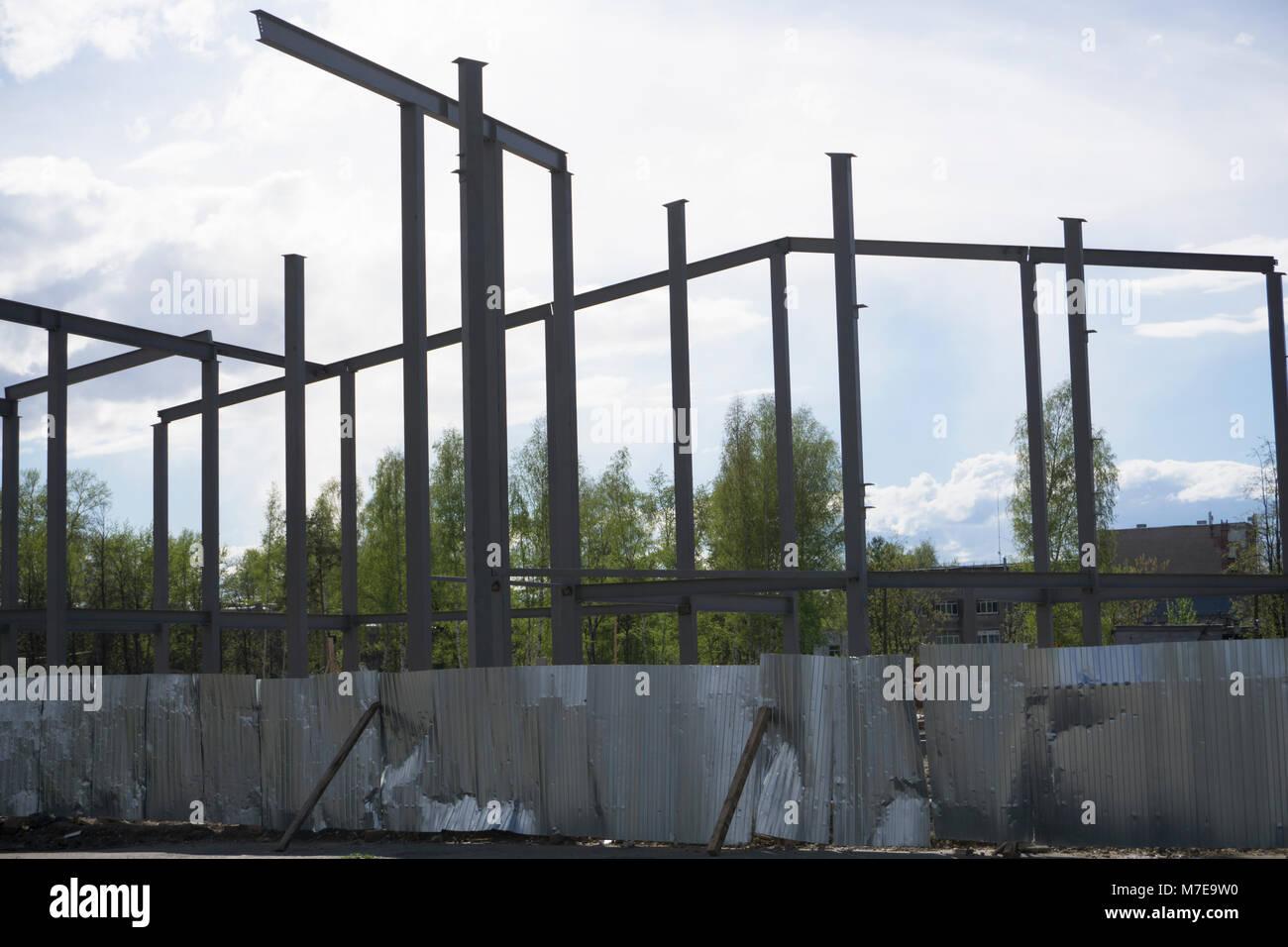 Steel structure workshop is under construction - Stock Image