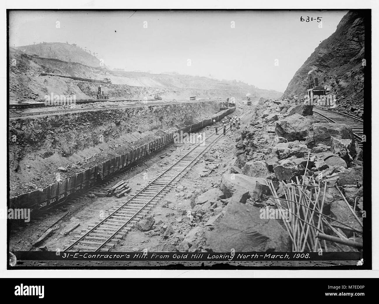 Panama Canal in construction- Contractor's Hill, from Gold Hill looking north LCCN2014683055 - Stock Image