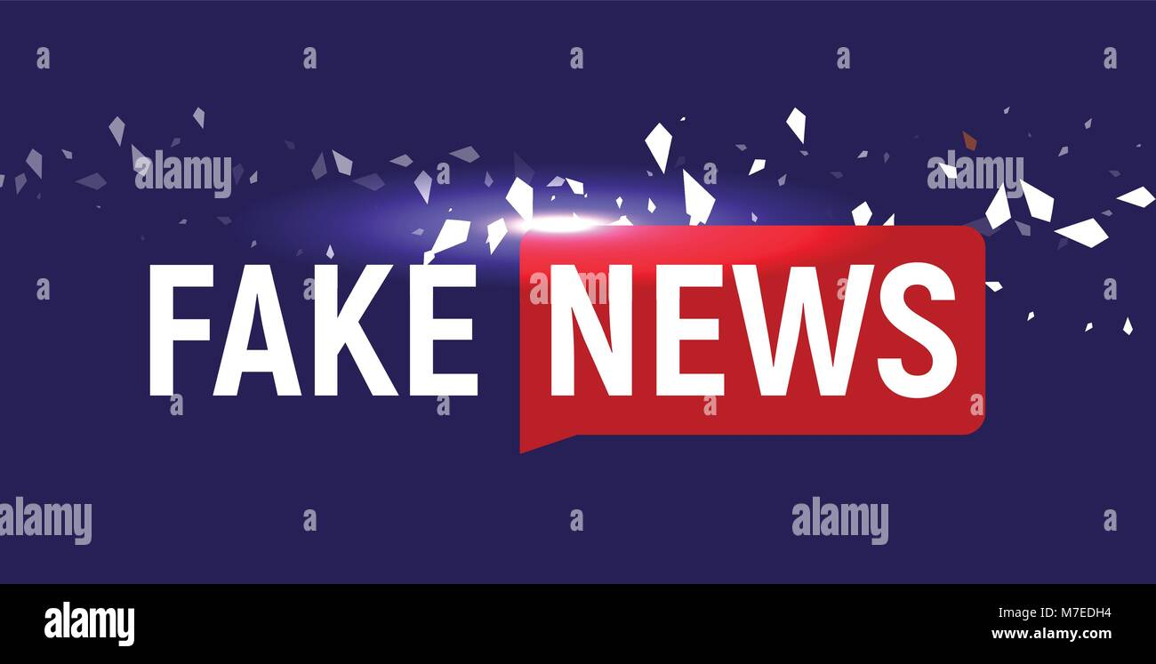 Fake News show logo template. Bubble speech news on blue background ...