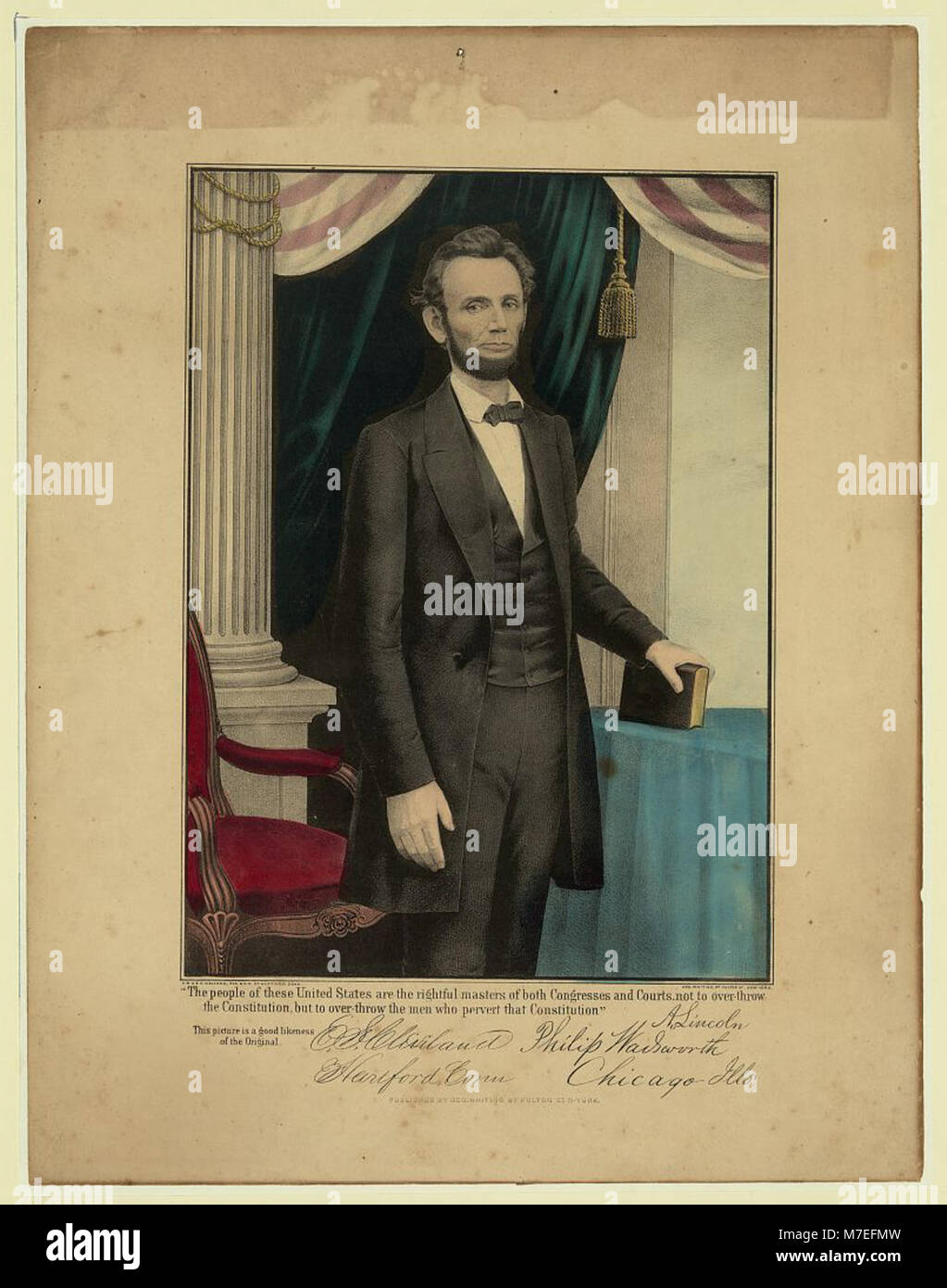 'The people of these United States are the rightful masters of both congresses and courts, not to over-throw - Stock Image