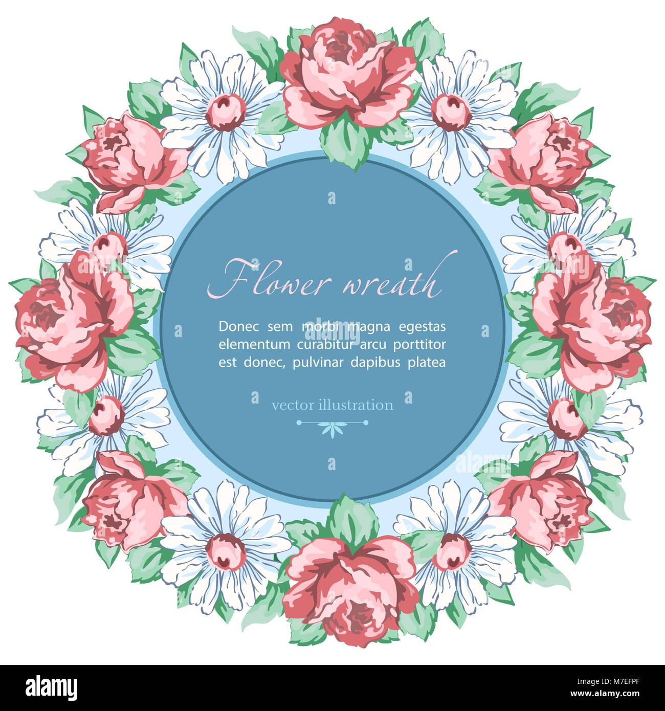 Wreath of chamomile and rose flower vector floral background round wreath of chamomile and rose flower vector floral background round flower frame border drawn bud pink rose flower and white chamomile hand drawing izmirmasajfo Gallery