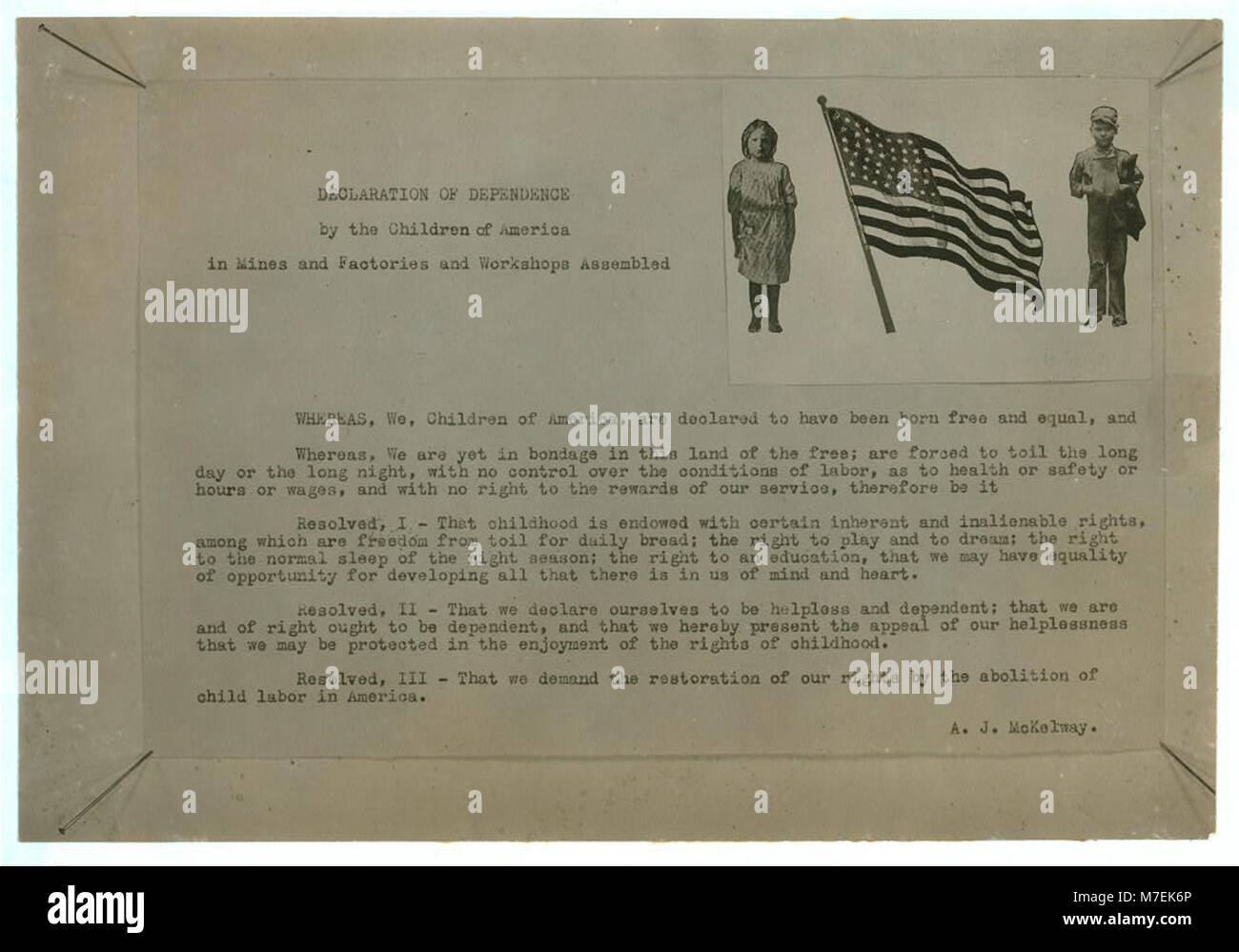 Printed page of text with photo illustration- 'Declaration of Dependence by the Children of America in Mines - Stock Image