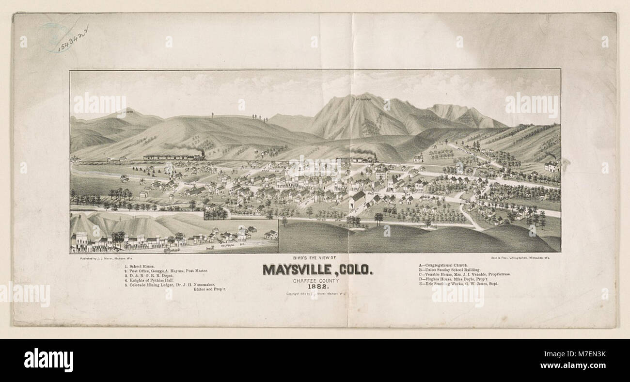 Bird's eye view of Maysville, Colo. Chaffee County 1882 LCCN2003654959 - Stock Image