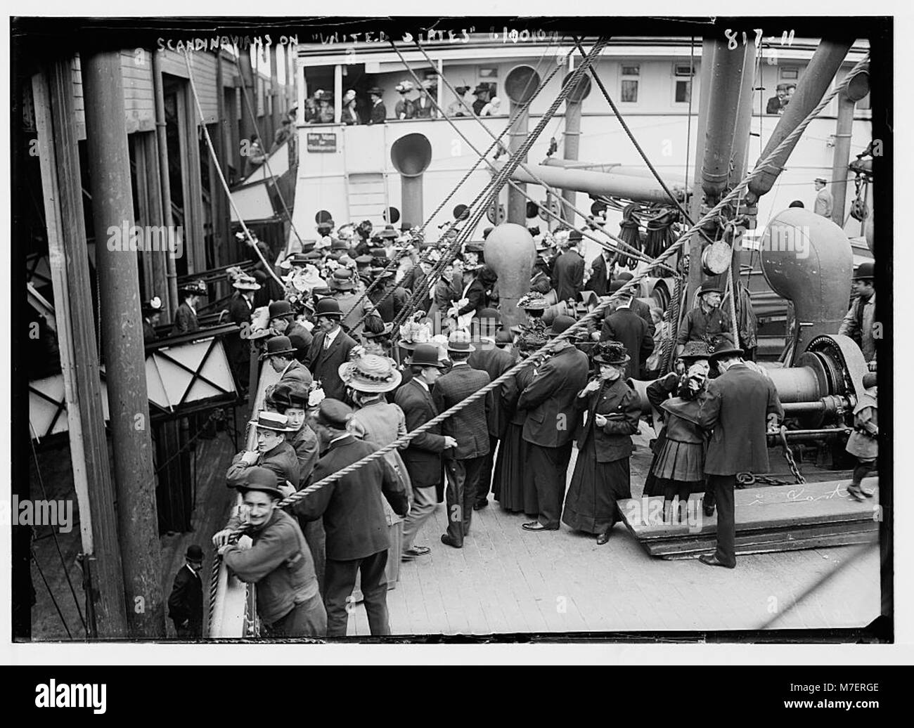 Scandinavians on deck of liner 'United States' LCCN2014683997 - Stock Image