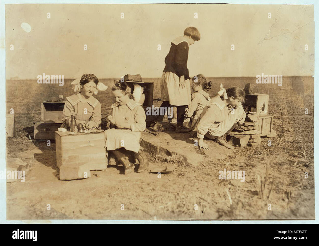 Some original play houses conceived and executed by girls at the Oklahoma School for the Blind. See Ellis report. Stock Photo