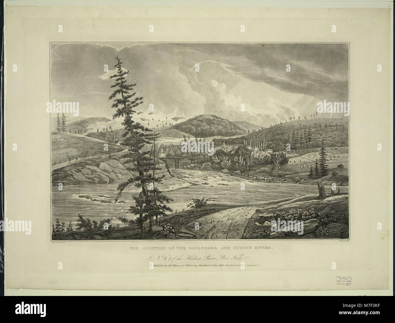 The junction of the Sacandaga and Hudson Rivers - painted by W.G. Wall ; finished by I. Hill. LCCN2011661786 - Stock Image