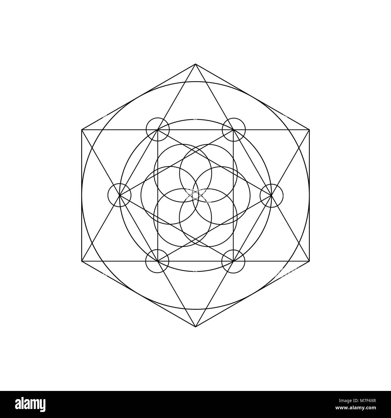 Vector sacred geometry symbols with triangle, hexagon, circle and floral motif. Mystical geometry symbol - Stock Image