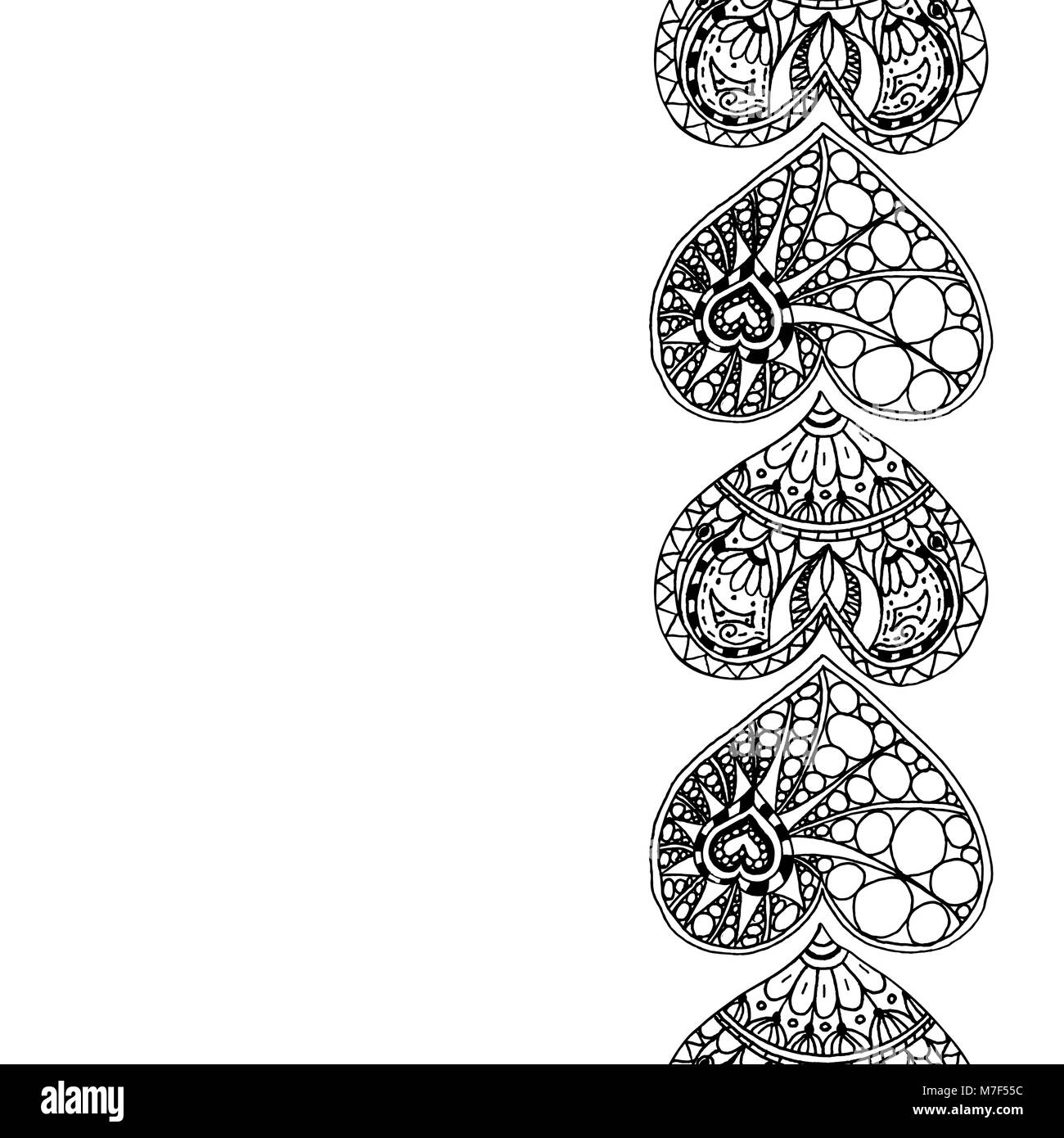 Vector Decorative Vertical Border From Black Hand Drawing Hearts On White Background Coloring Page Book Doodle Antistress For Adu