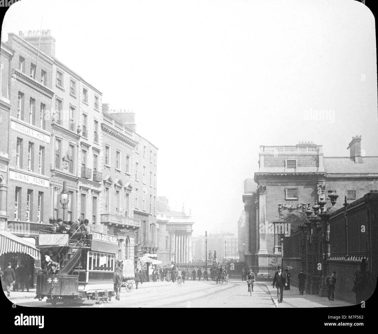 View looking down Grafton Street in Dublin during Victorian times. The Douglas's Hotel and Dining Rooms are - Stock Image
