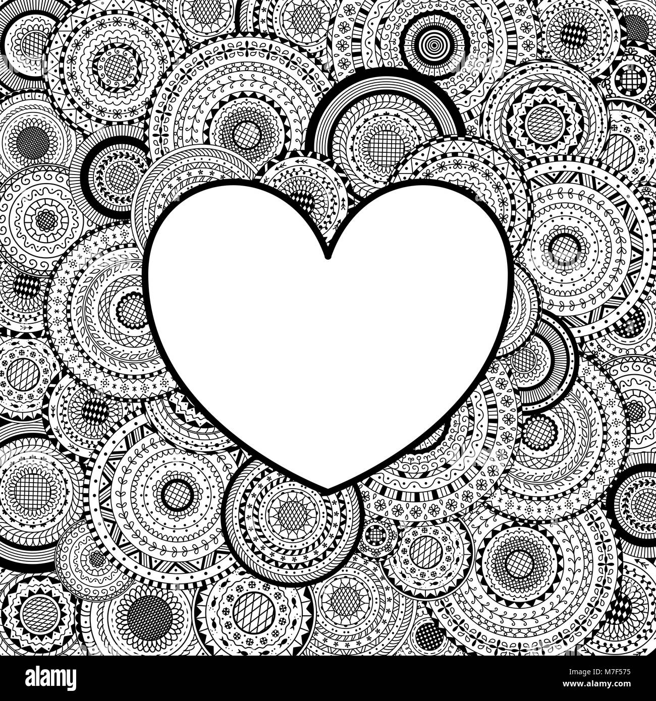 Vector frame in heart shape on mandalas background. Coloring page ...