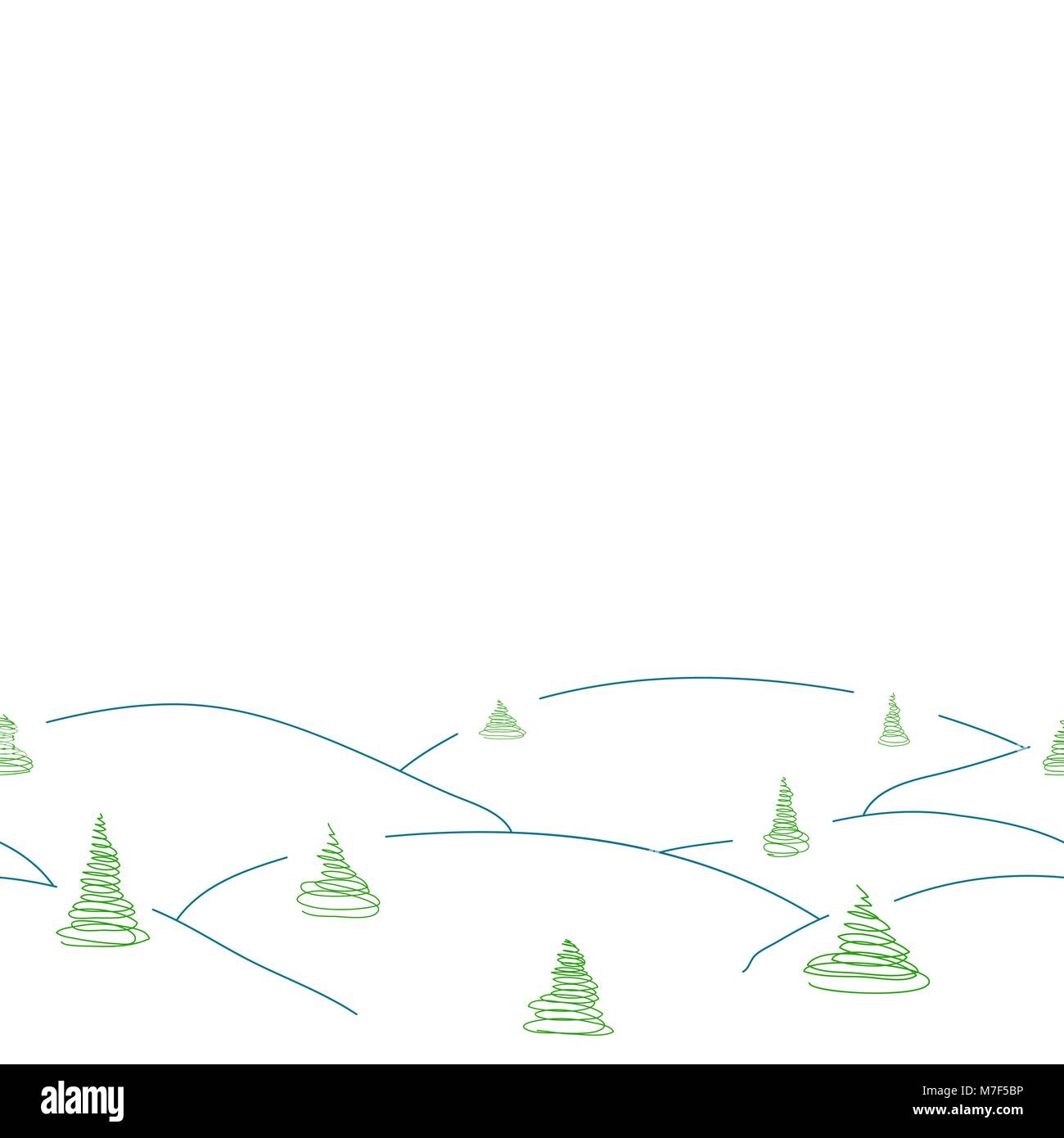 Vector seamless decorative winter border from simple snowdrift and sketch pine trees, fir trees, spruces - Stock Vector