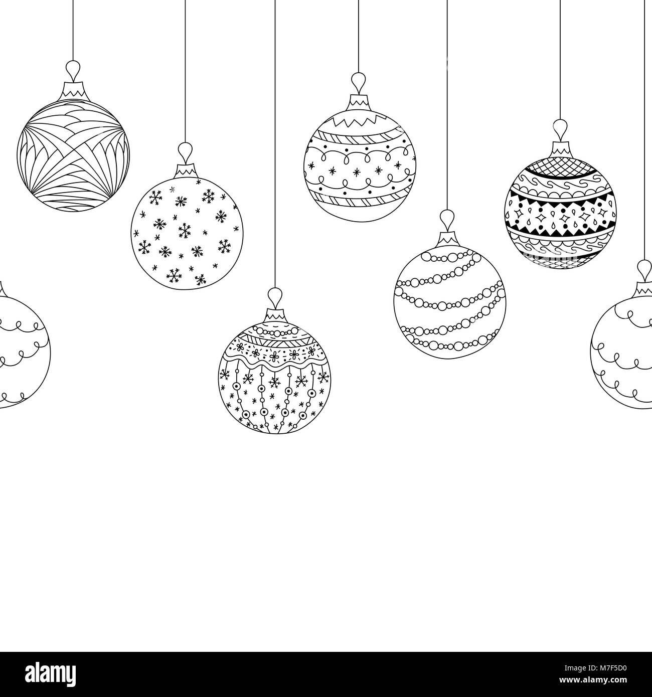 Vector Seamless Decorative Border From Hand Drawing Christmas Tree Ball Toys Greeting Invitation Background Coloring Page Book