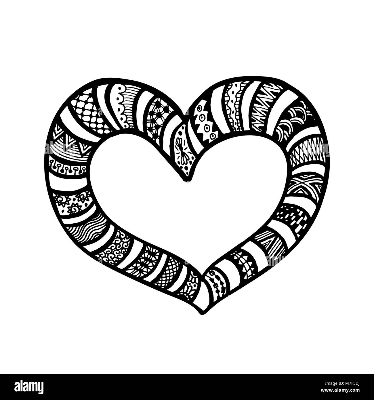 Vector illustration of doodle hand drawn hearts. Coloring ...