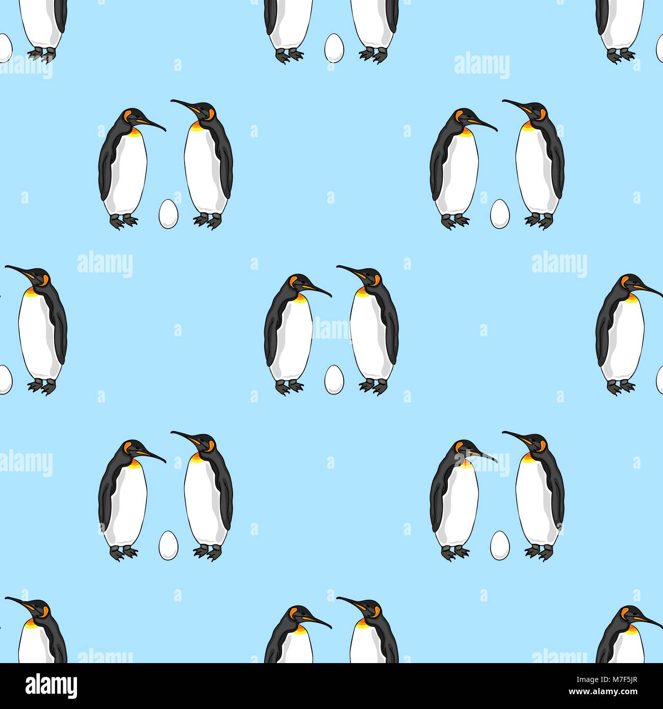 Vector seamless pattern of bird penguin couple with egg. Emperor penguin family - Stock Image
