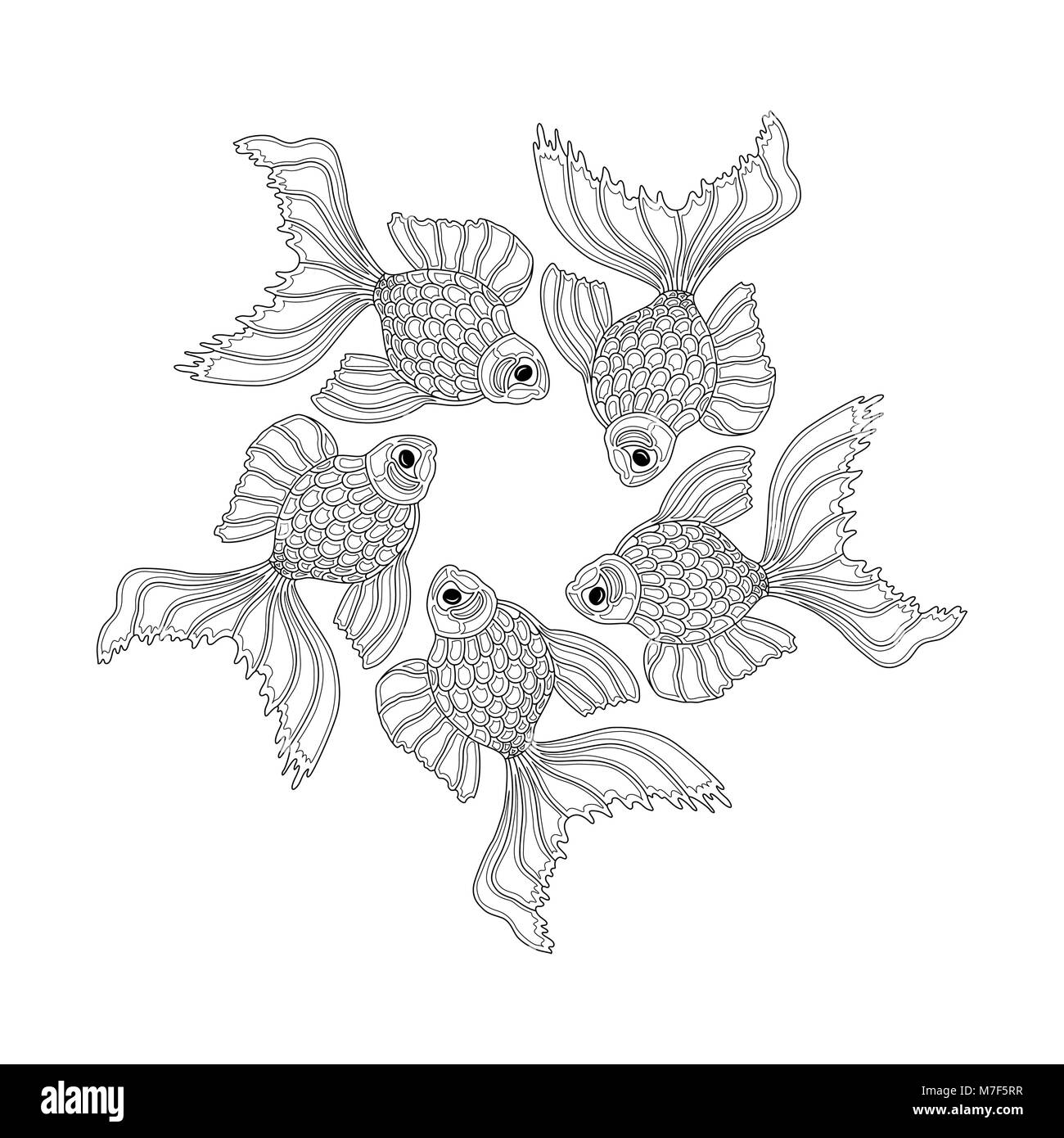Vector hand drawn goldfishes floating in a circle. Line art design goldfish Stock Vector
