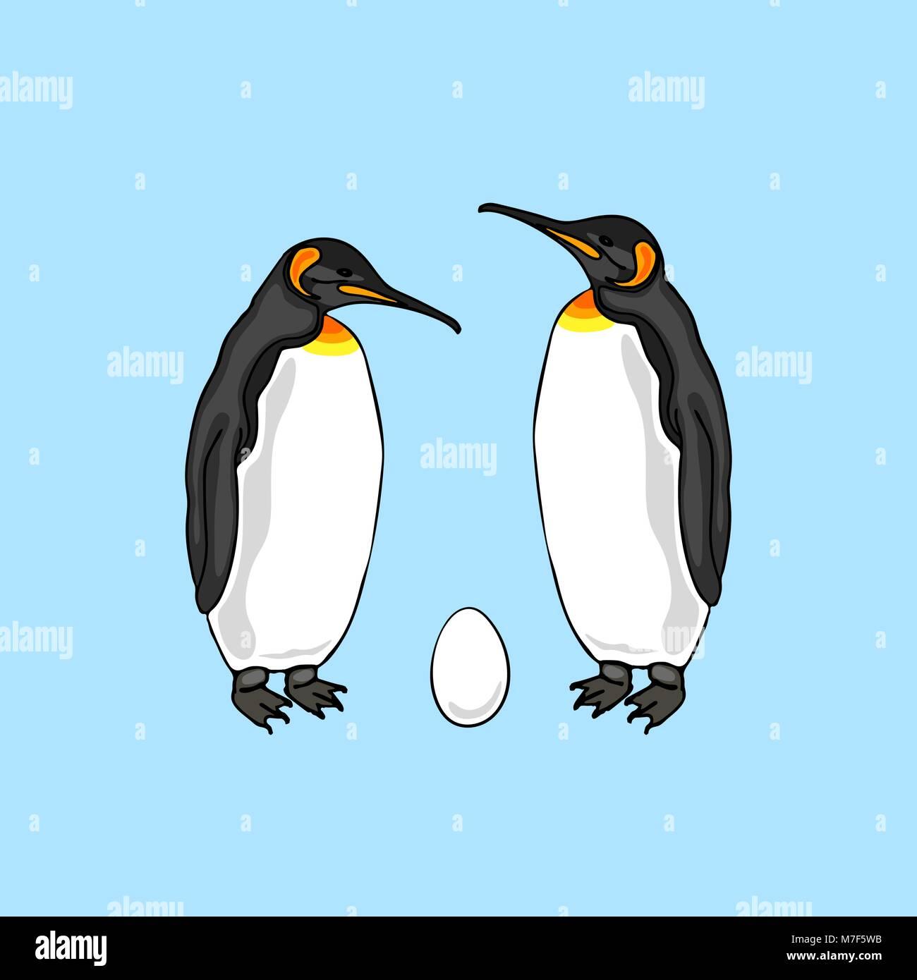 Vector illustration of bird penguin couple with egg. Emperor penguin family - Stock Image