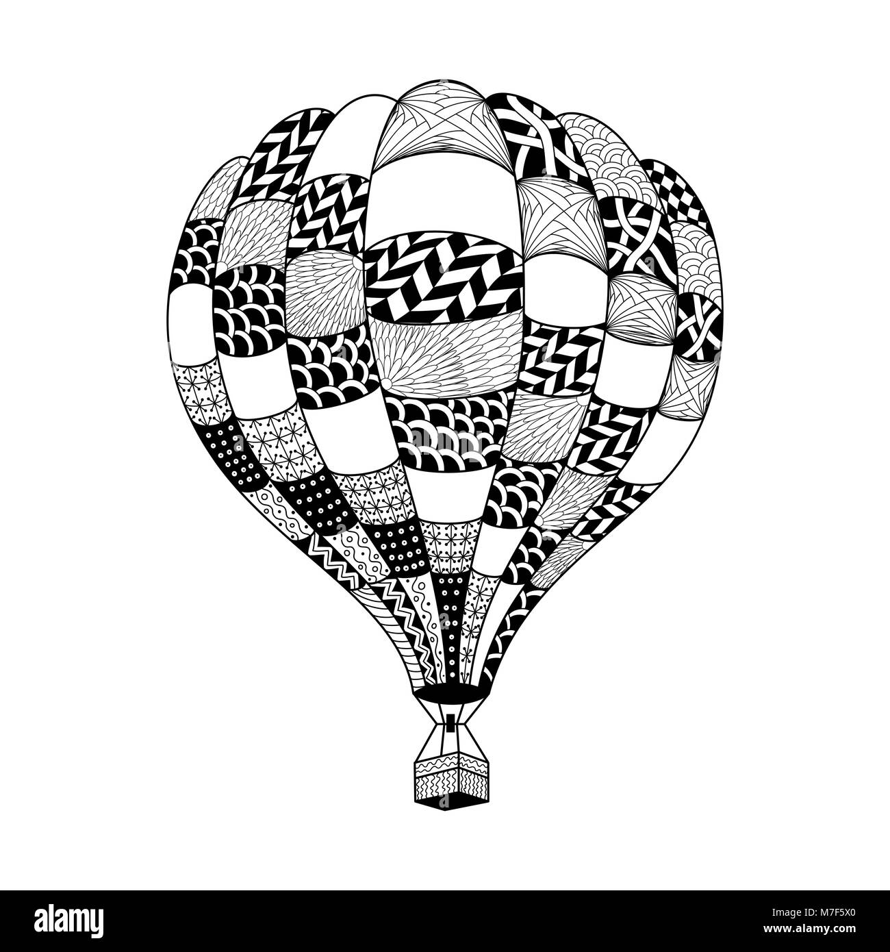 Vector hot air balloon in zentangle style Coloring page book Hand