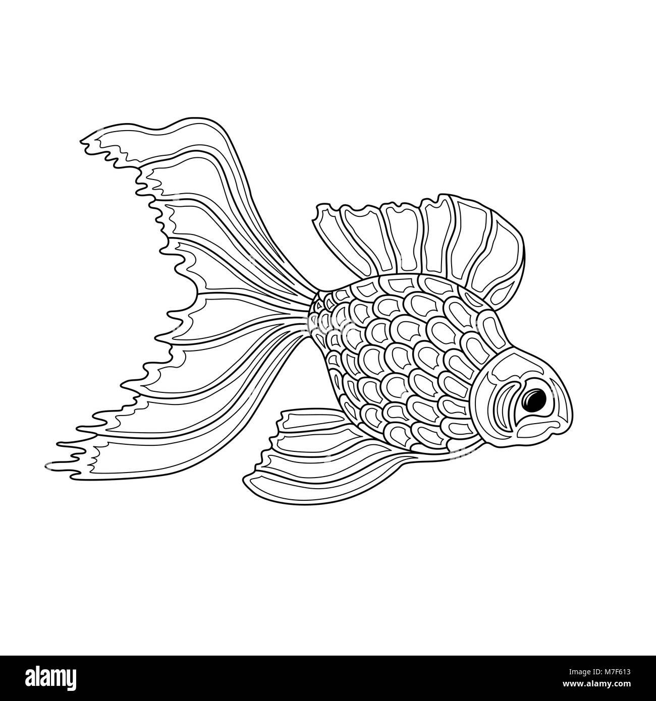 Vector illustration of gold fish. Line art design Stock Vector