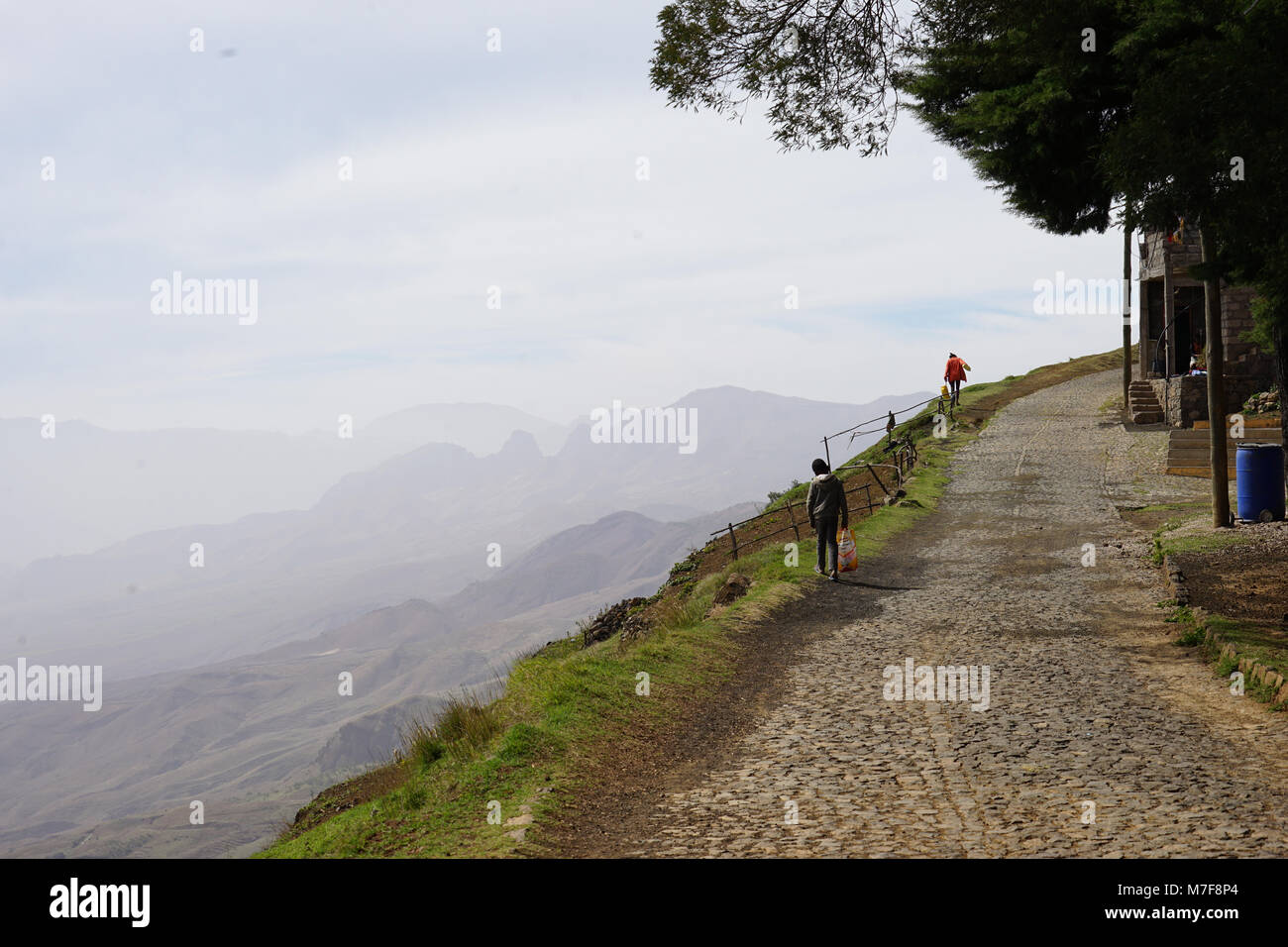 Pico Da Cruz.Box Walking On The Road From Pico Da Cruz Santo Antao