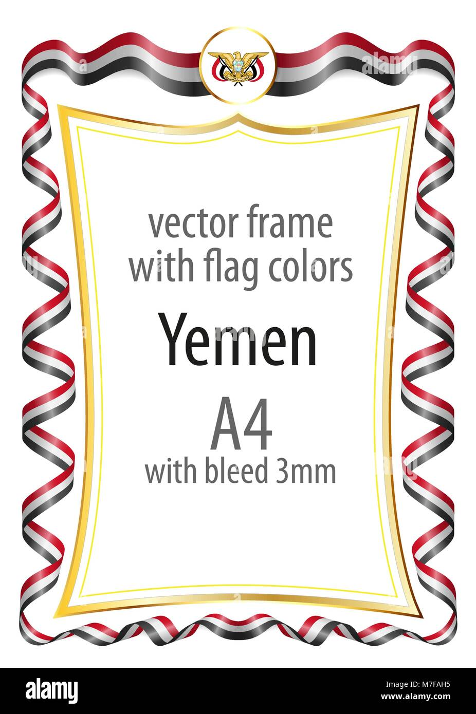 Frame and border  with the coat of arms and ribbon with the colors of the Yemen flag - Stock Vector