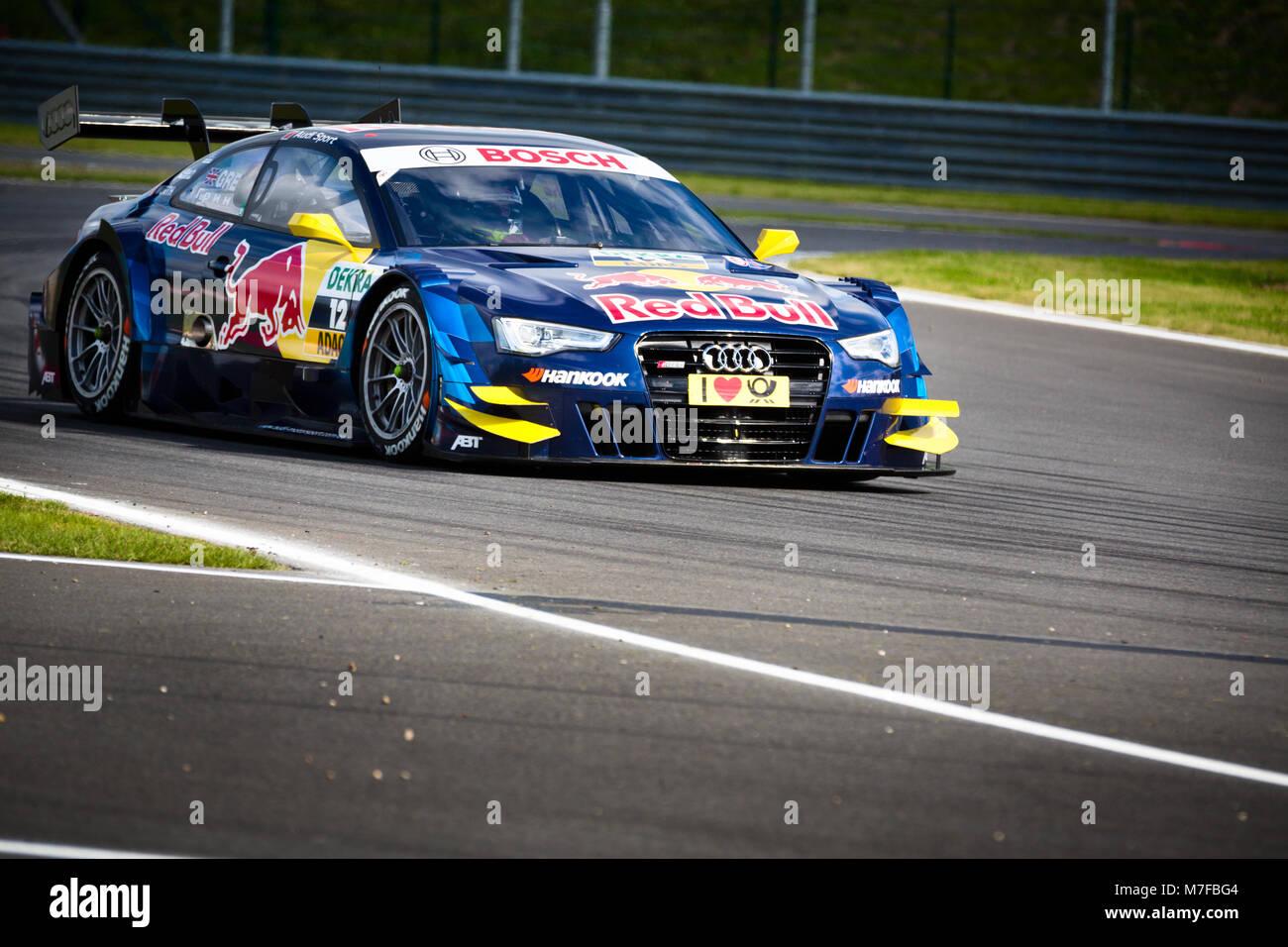 Audi RS 5 DTM car of Audi Sport Abt Sportsline Team participates in the Deutsche Tourenwagen Masters racing series - Stock Image