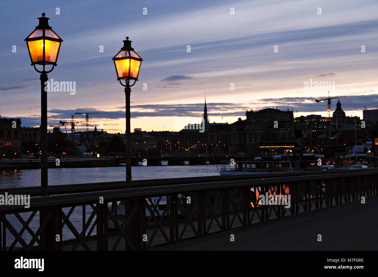 Stockholm skyline from Skeppsholmsbron at dusk, Sweden Stock Photo