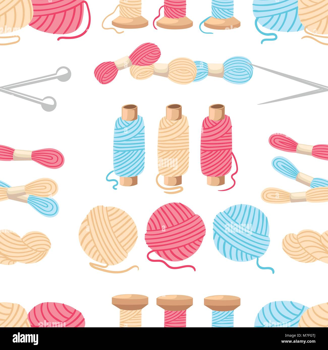 Seamless pattern. Threads for sewing for cross stitching set tools for sewing knitting needles vector wool knitwear - Stock Vector
