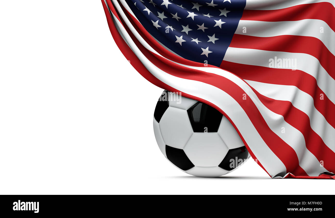 USA national flag draped over a soccer football ball. 3D Rendering - Stock Image