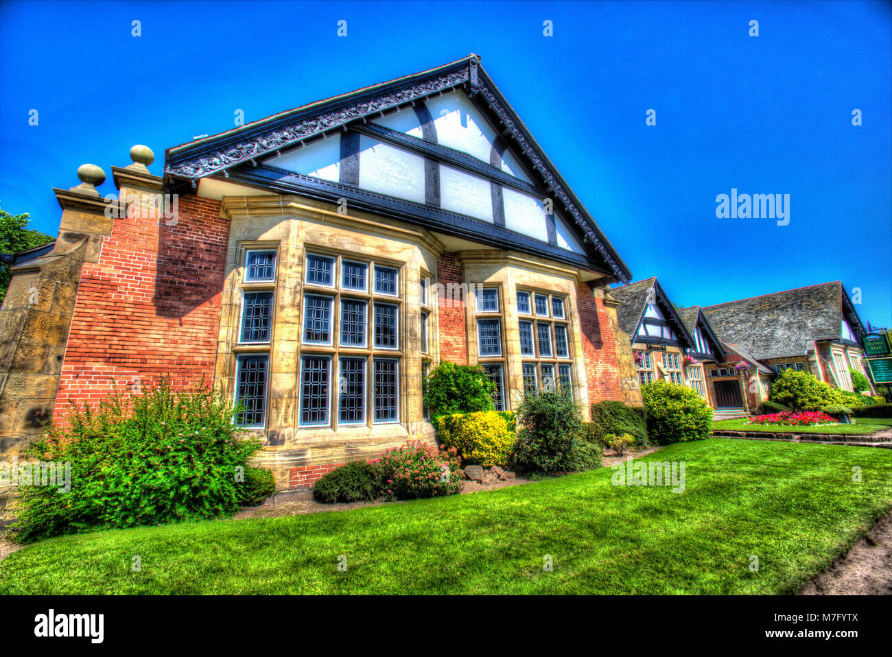 Village of Port Sunlight, England. Artistic view of the early 20th century William and Segar Owen designed Hulme - Stock Image