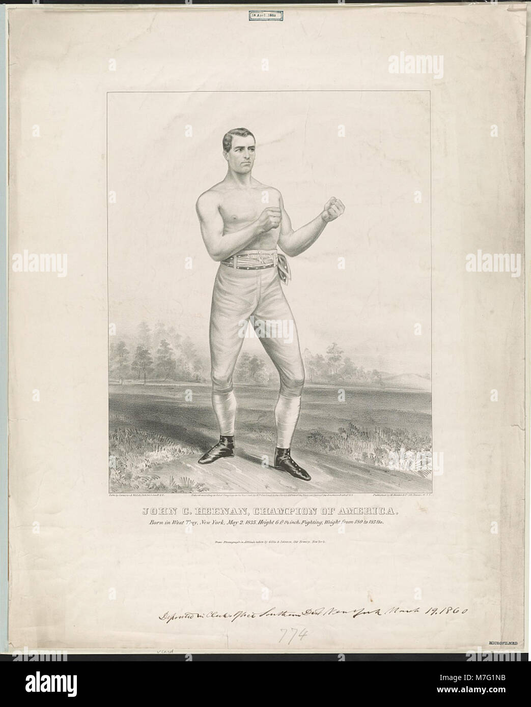 John C. Heenan, champion of America born in West Troy, New York, May 2, 1835, height 6 ft. 1 1-2 inch, fighting - Stock Image