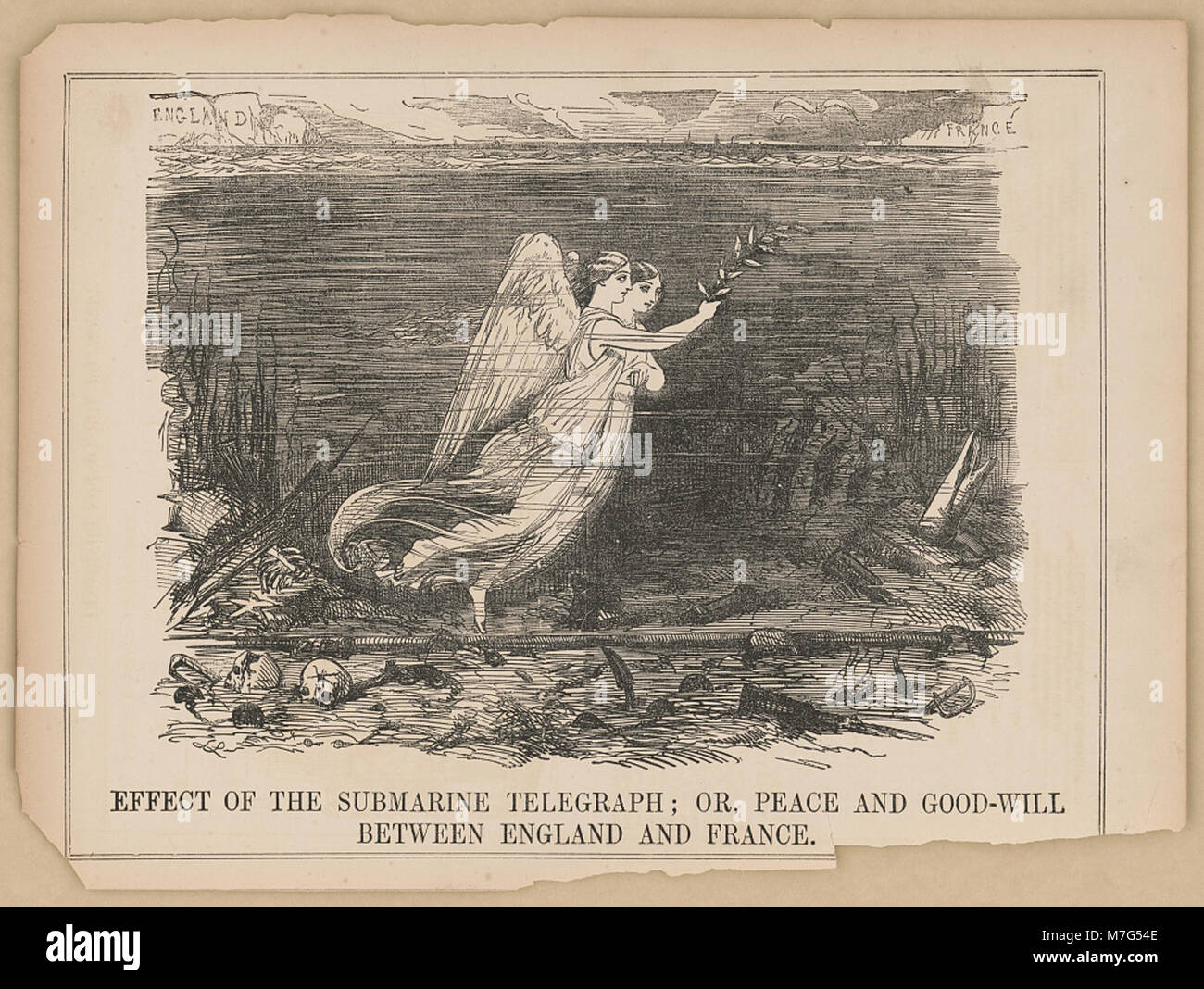 Effect of the submarine telegraph; or peace and good-will between England and France LCCN2016649188 - Stock Image