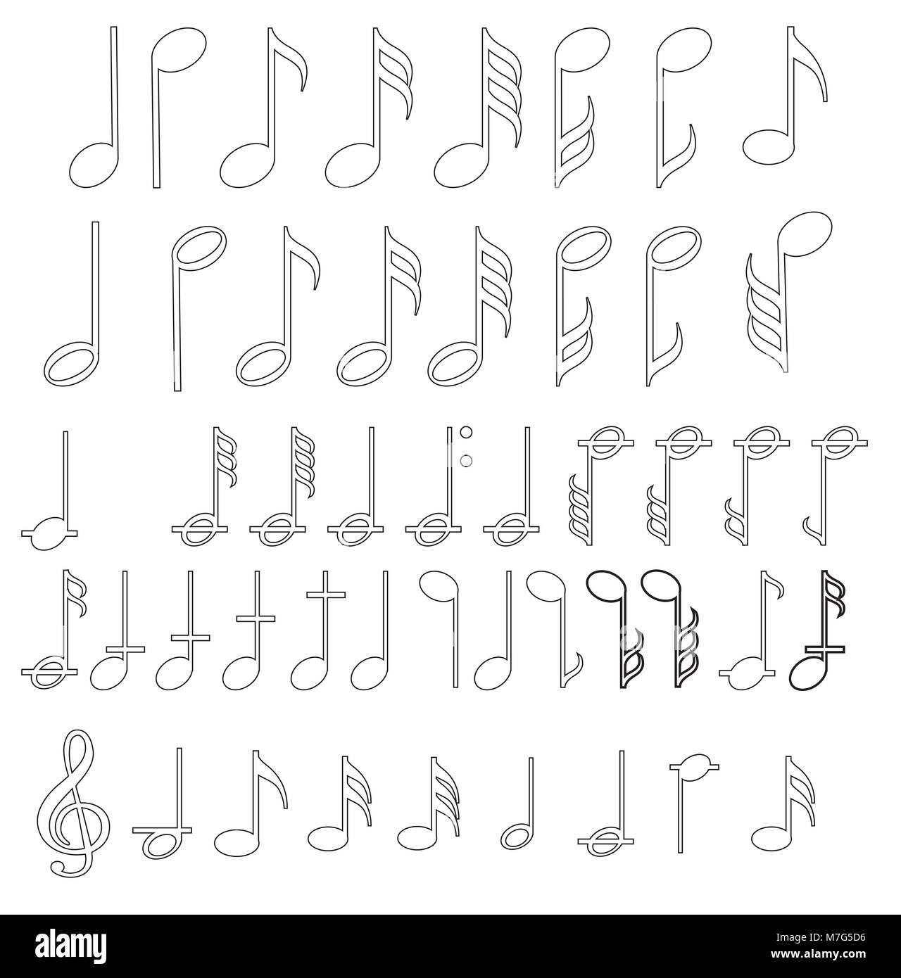 Music note background with different music symbols - Stock Image