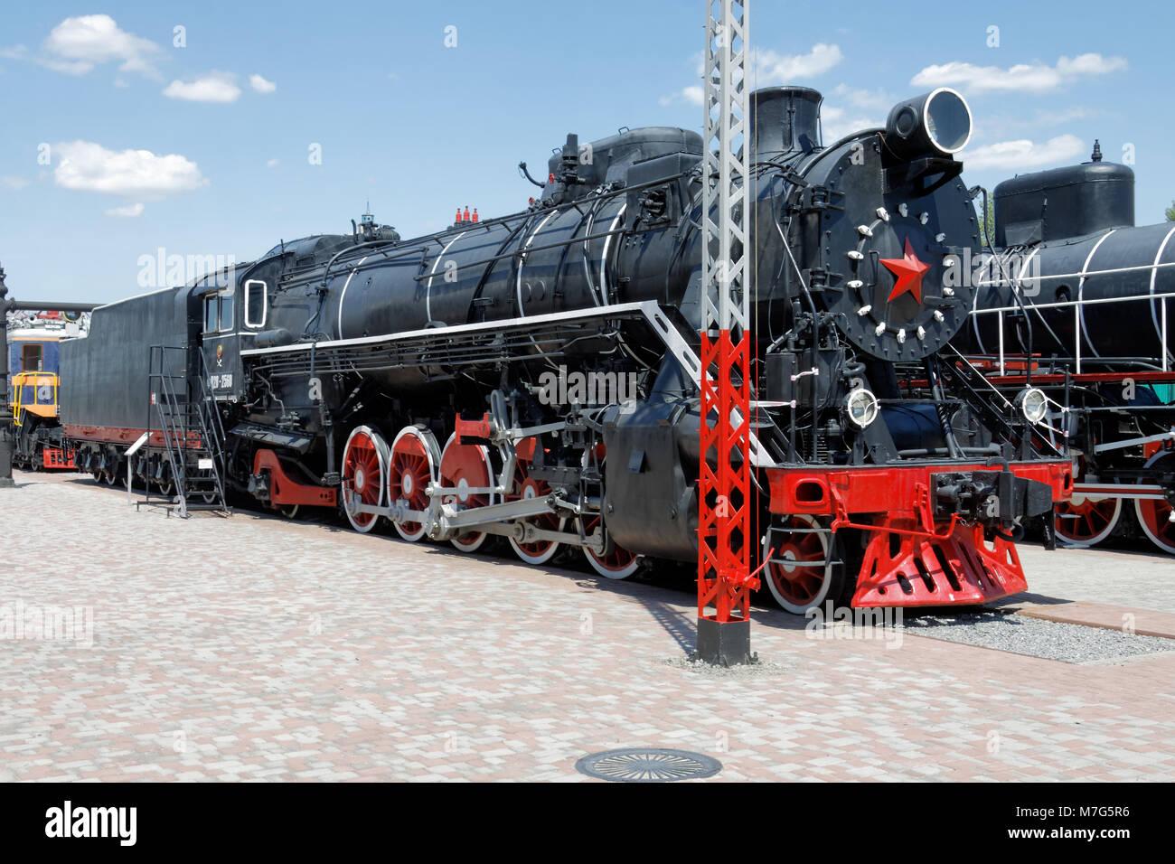 Old black steam locomotive FD20-2560 in the Kharkіv Railway Museum. Ukraine, Kharkіv - Stock Image