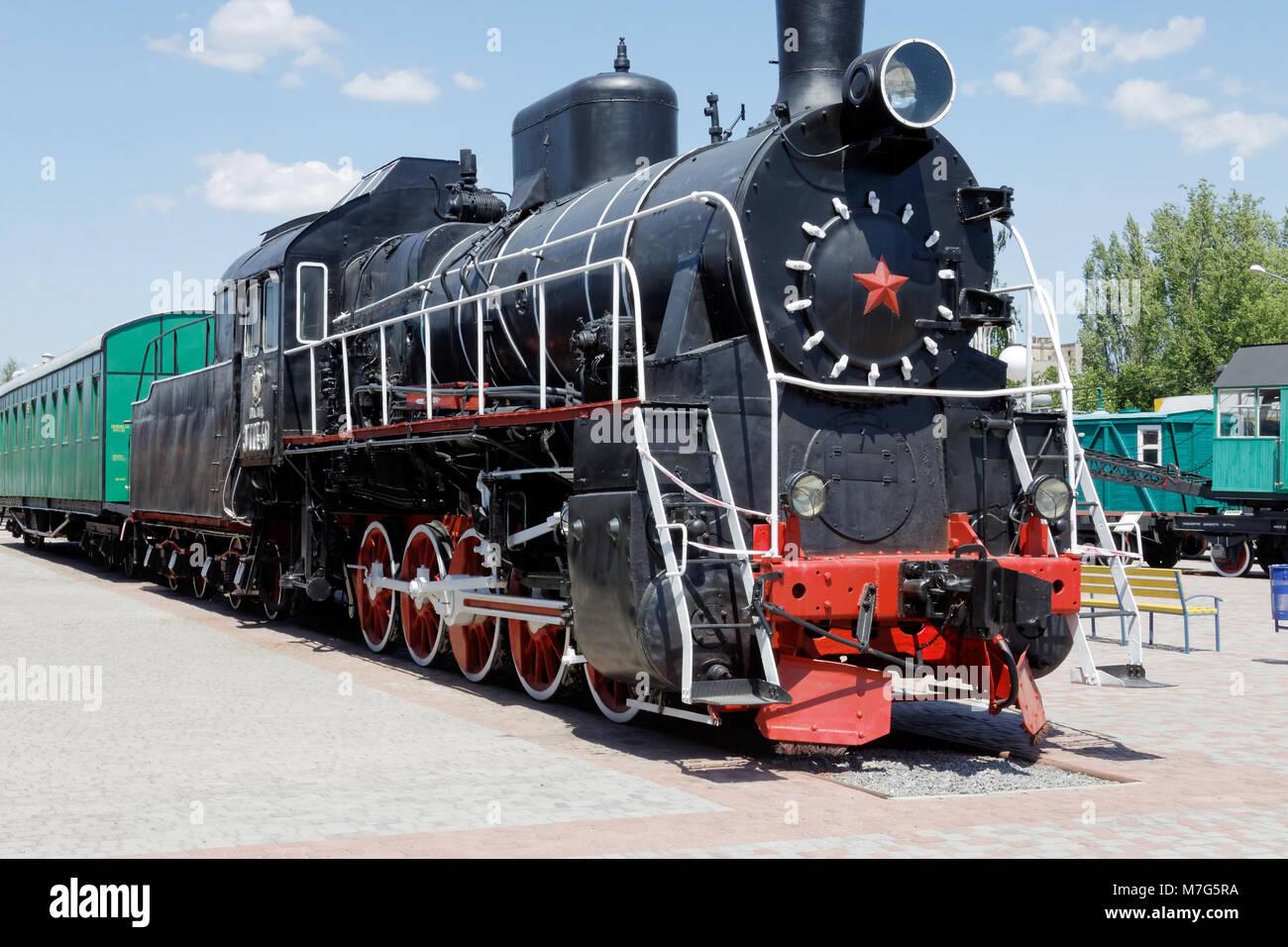 Old black steam locomotive Er774-40 in the Kharkіv Railway Museum. Ukraine, Kharkіv - Stock Image