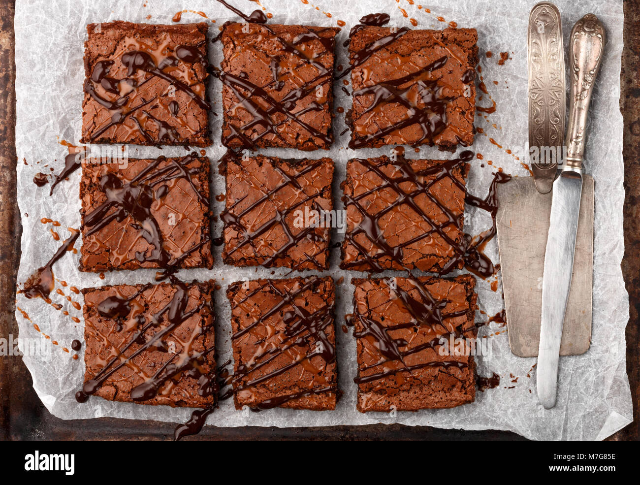 Brownie. Homemade cake with chocolate and caramel. American dessert. Top view - Stock Image