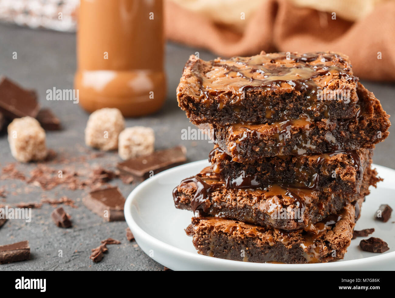 Brownie. Homemade cake with chocolate and caramel. American dessert. Selective focus - Stock Image