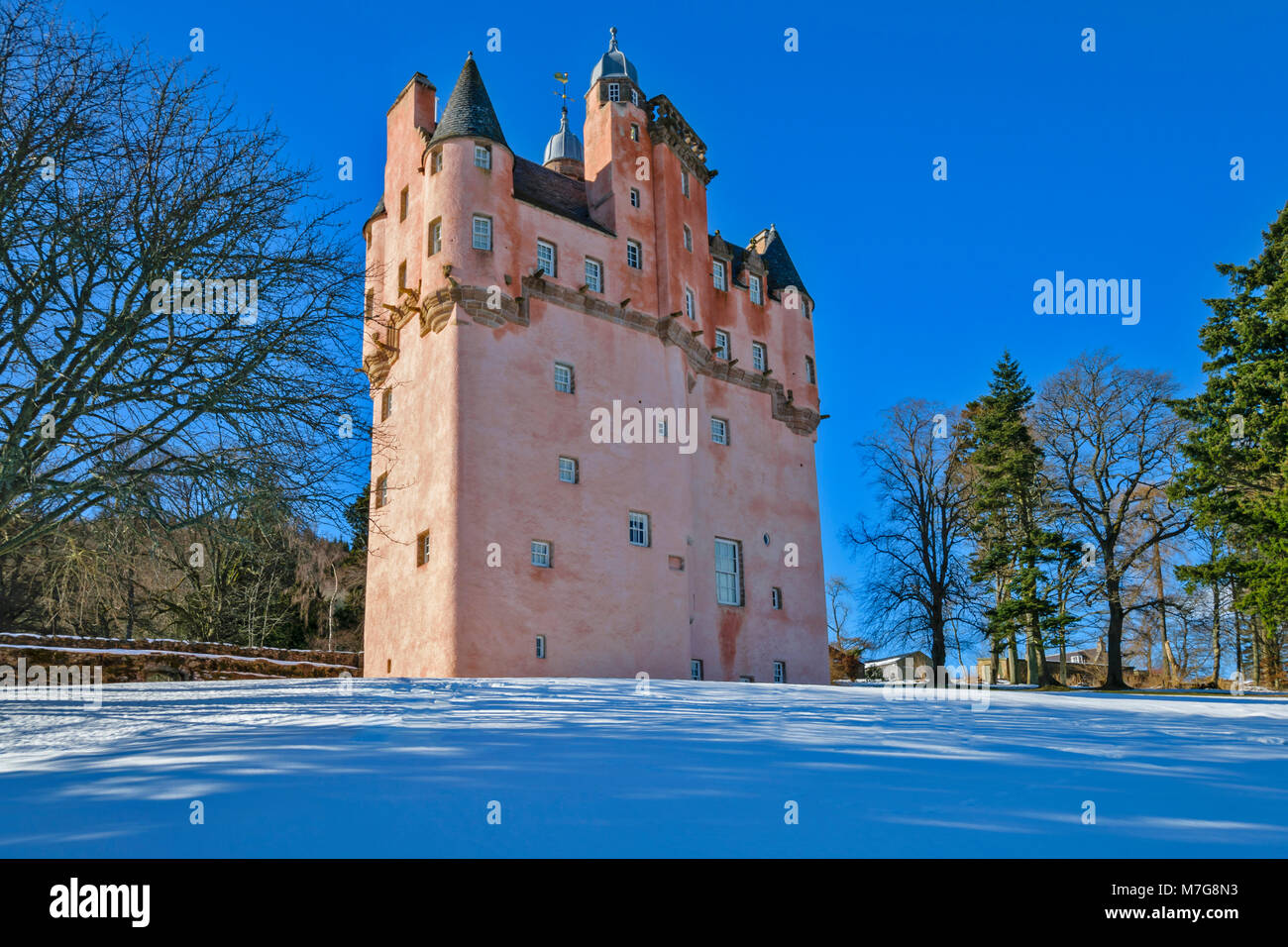 CRAIGIEVAR CASTLE ABERDEENSHIRE SCOTLAND A BLUE SKY THE IMPOSING PINK TOWER EVERGREEN FIR TREES AND DEEP WINTER - Stock Image