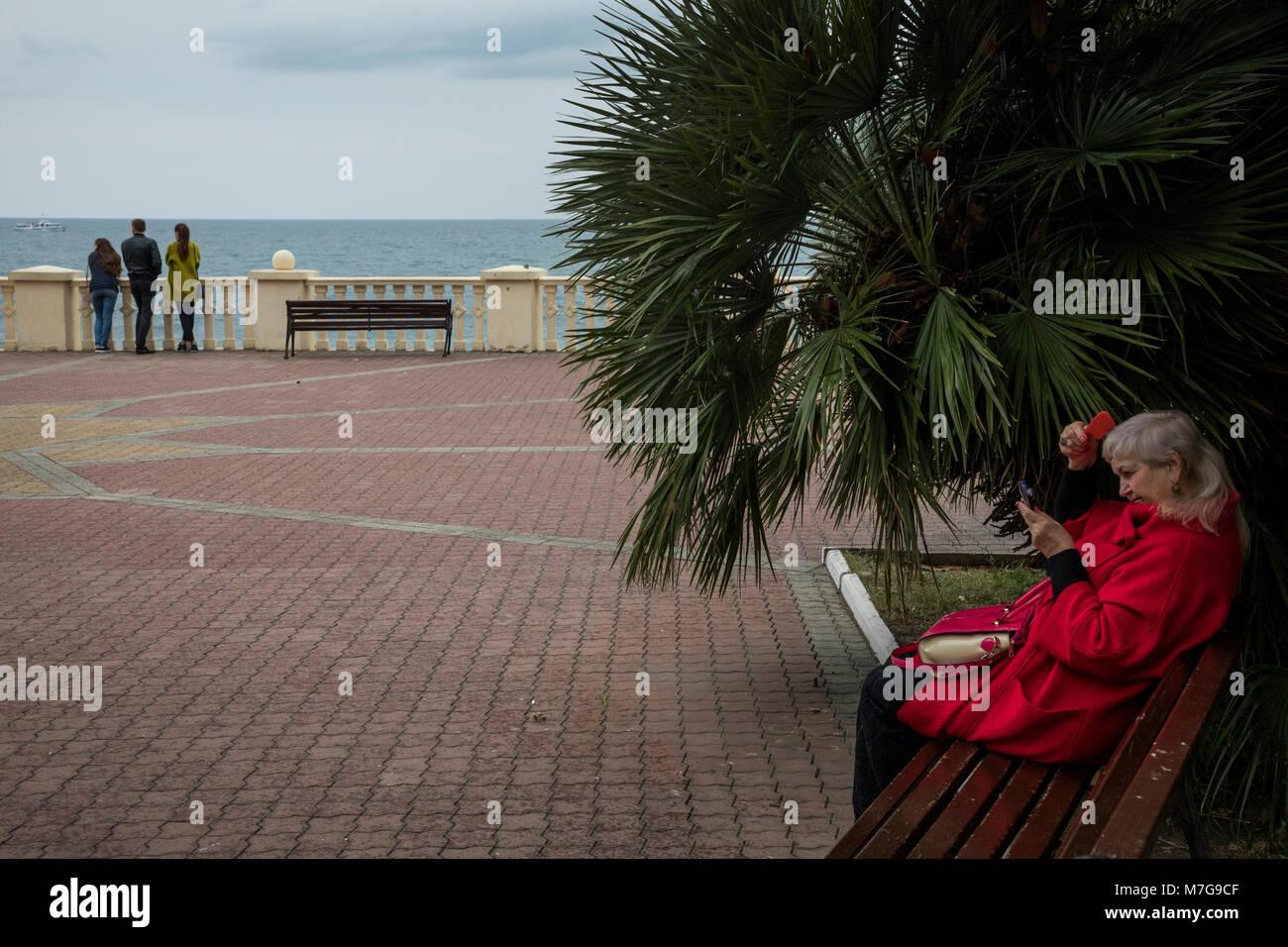 People on Primorskaya Embankment in central Sochi city, Russia - Stock Image