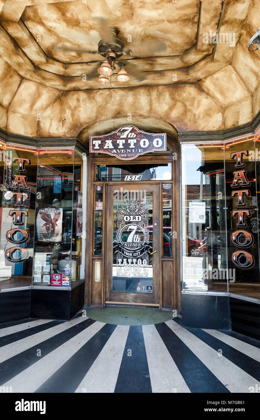 Store front Tattoo shop, Ybor City, Florida - Stock Image