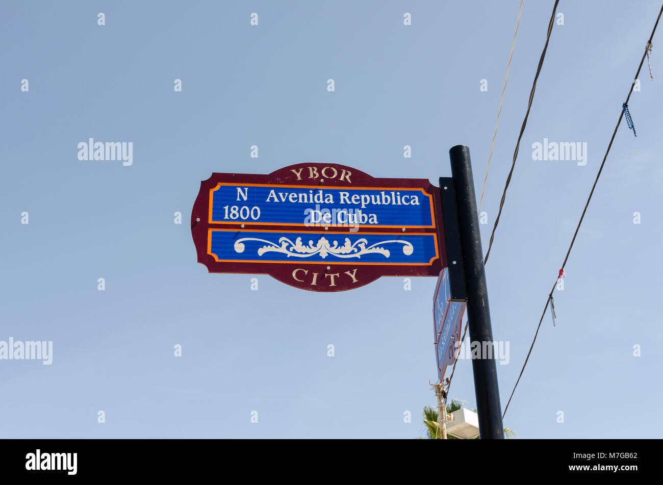 Avenida Repbulica De Cuba street sign, Ybor City, Florida - Stock Image