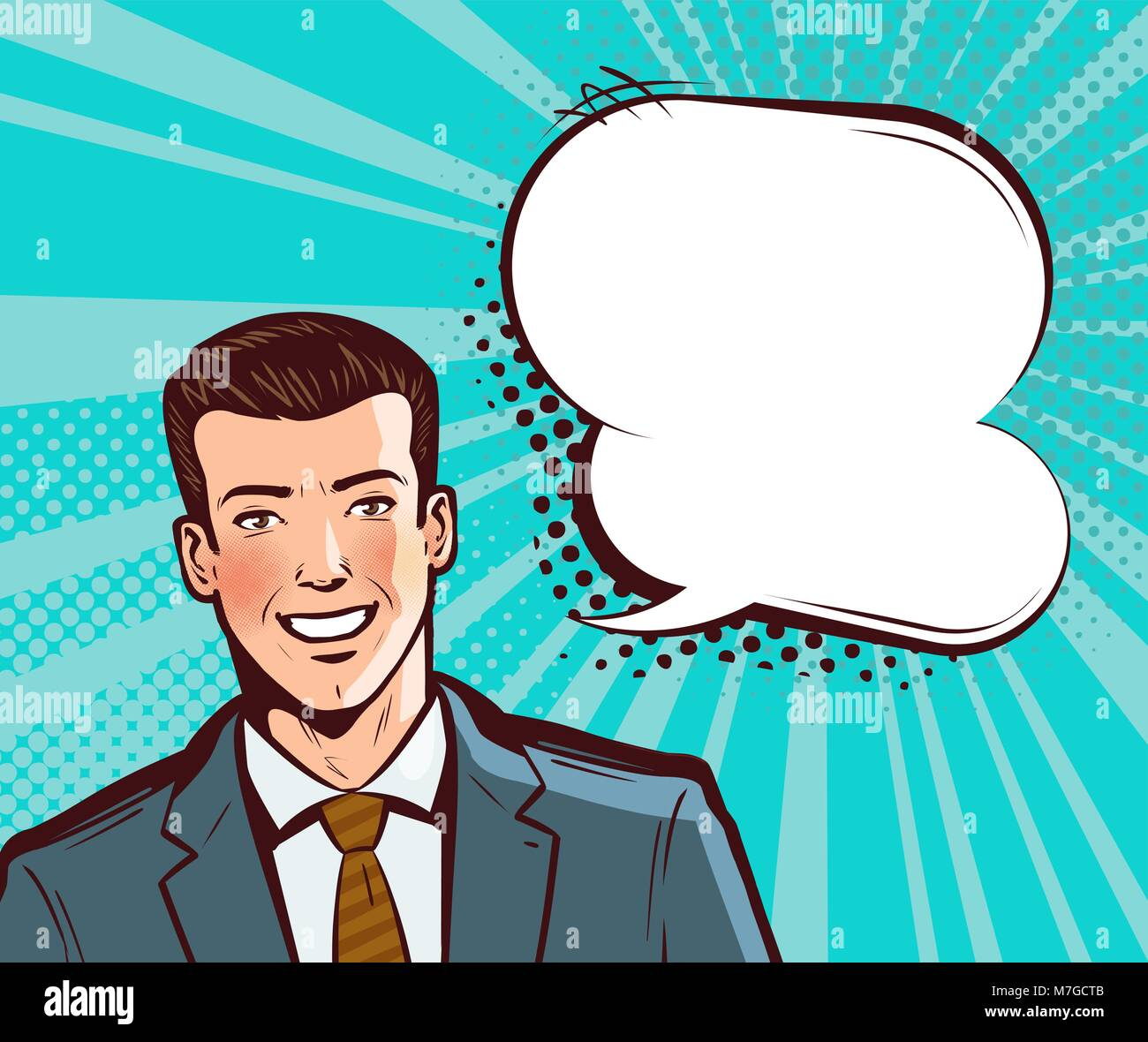 Businessman or young man in suit talking. Business concept in pop art retro comic style. Cartoon vector illustration - Stock Vector