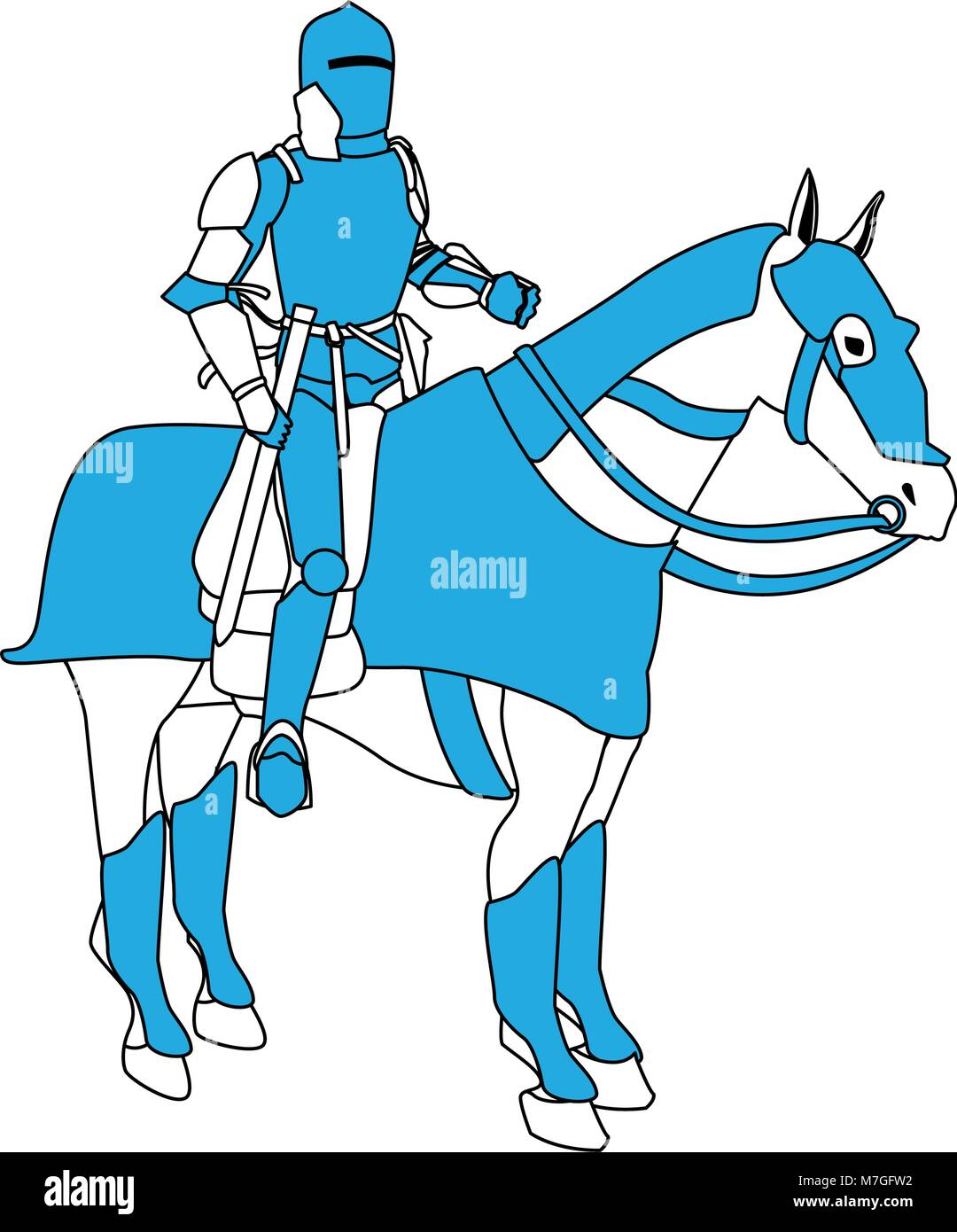 Medieval Warrior On Horse Vector Illustration Graphic Design Stock Vector Image Art Alamy