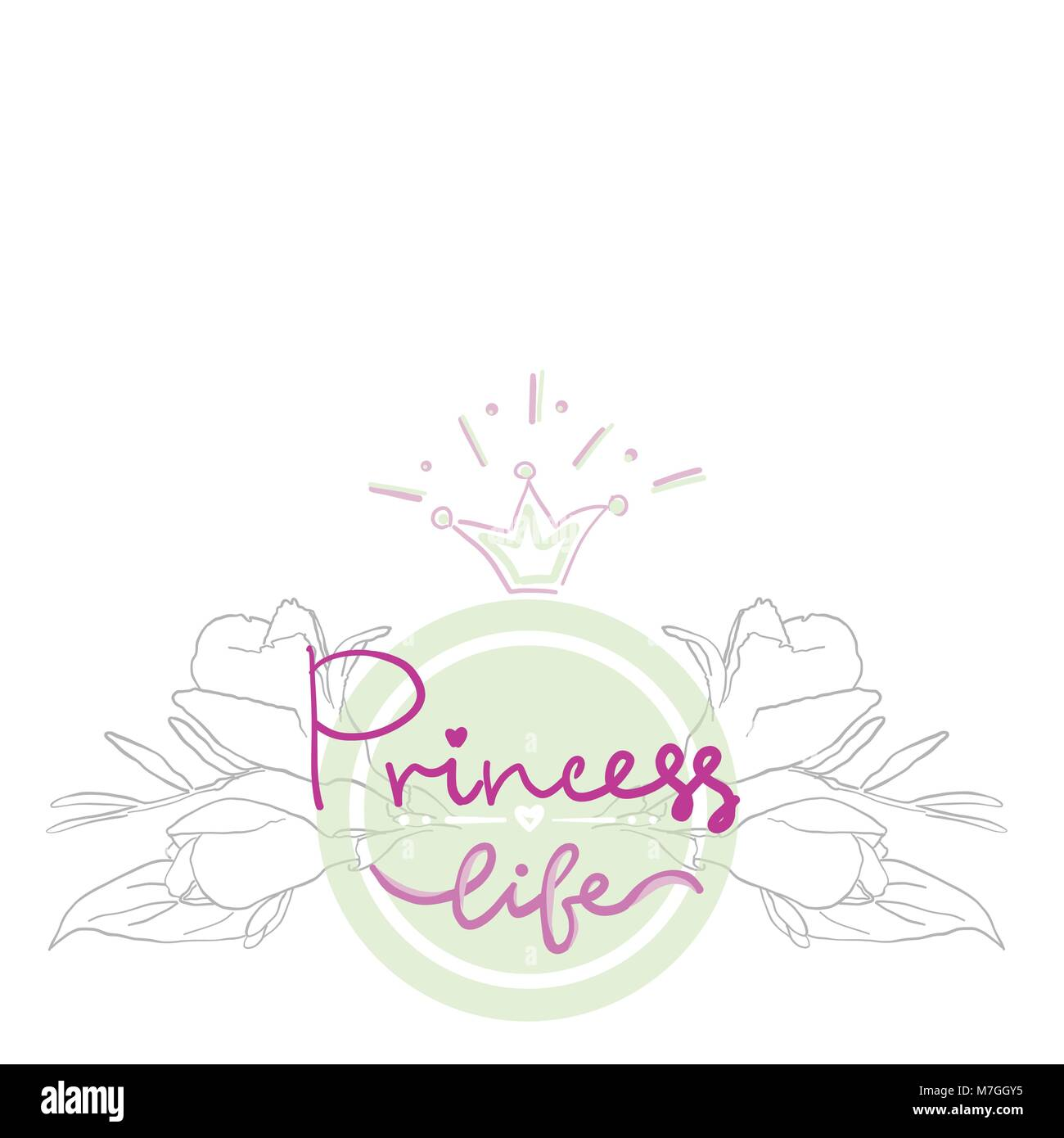 Party Bridal Shower Hen Birthday Card Color Girl Projekt Logo Print T Shirt Lettering Princess Life With Floral Flowers Ornament In Circle