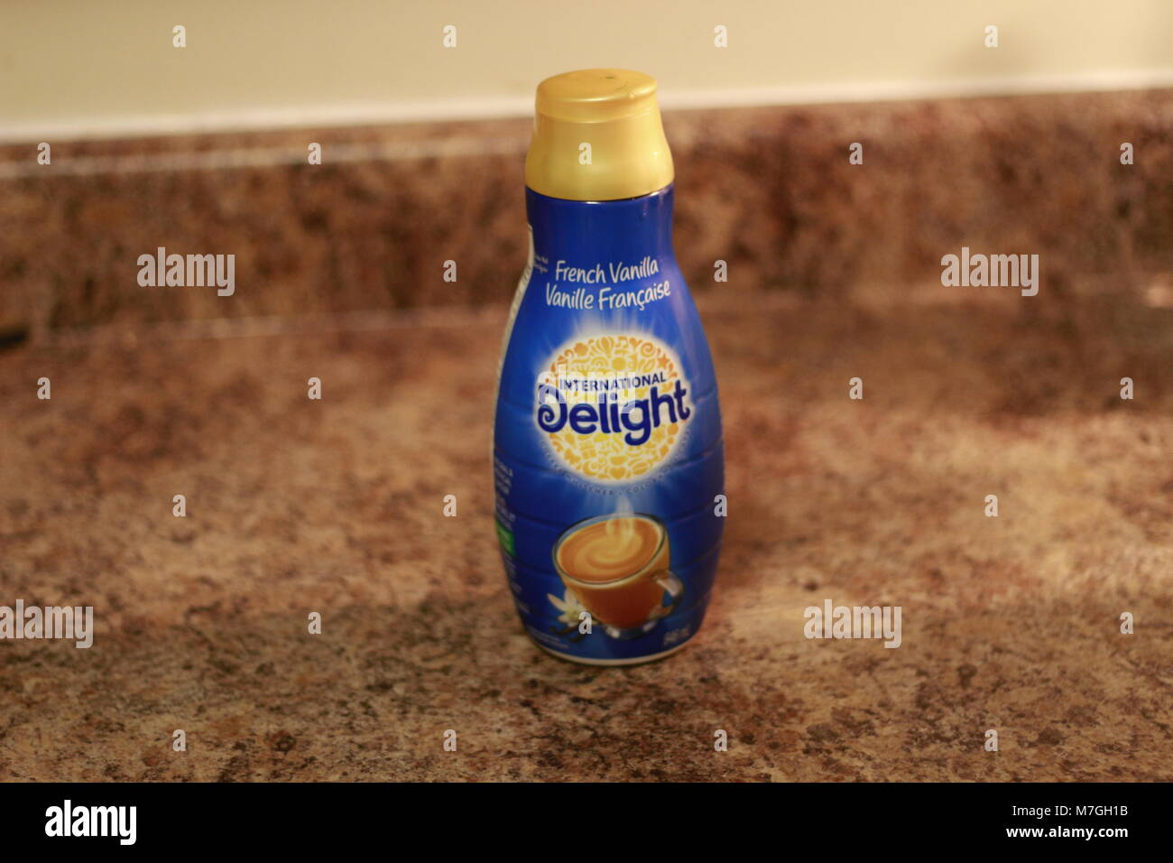 Bottle of Nestle French Vanilla Coffee Mate Nestle is a Switzerland based company founded in 1866 - Stock Image