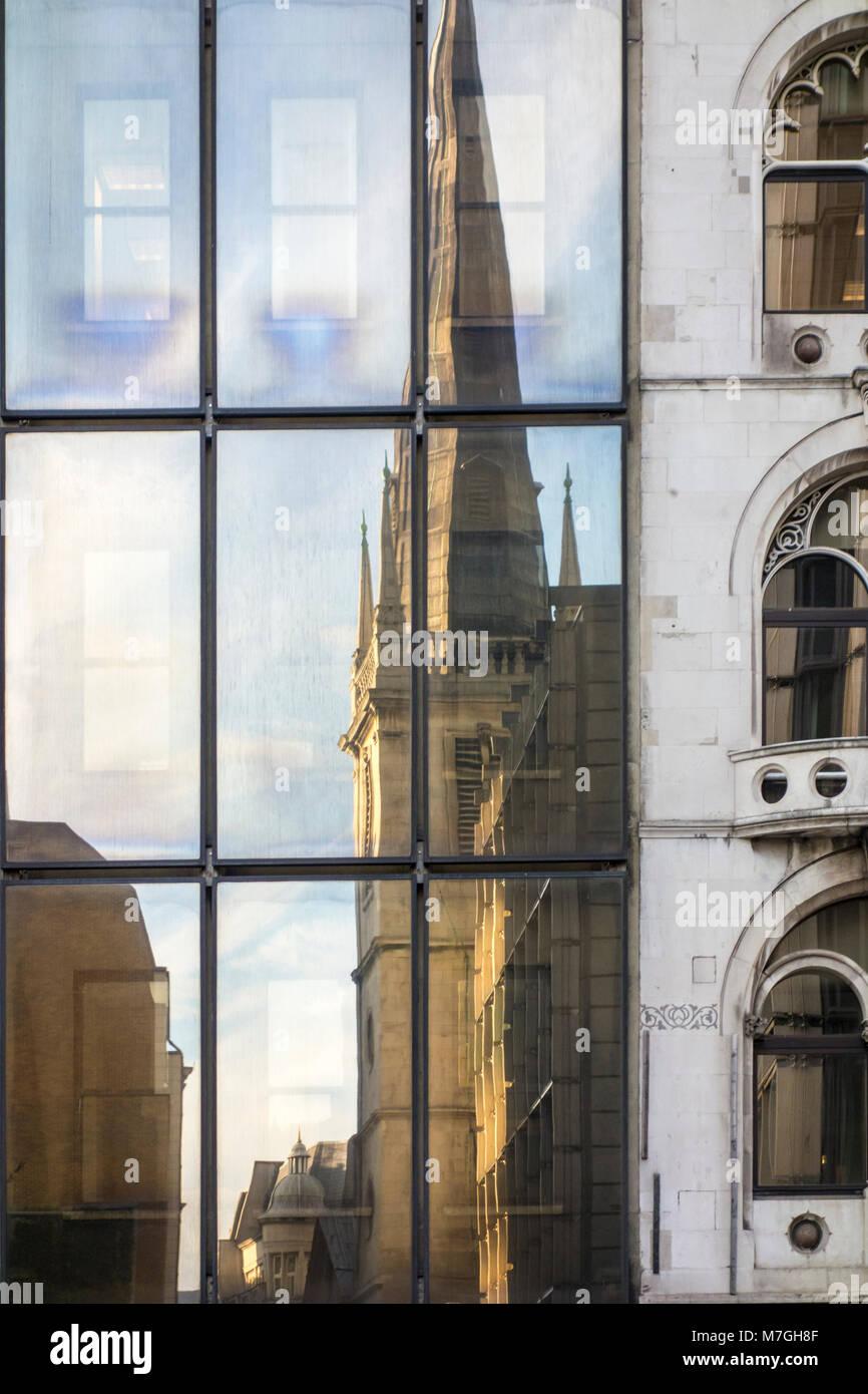 Reflection of Saint Margaret Pattens Church, Fenchurch Street, City of London, UK Stock Photo