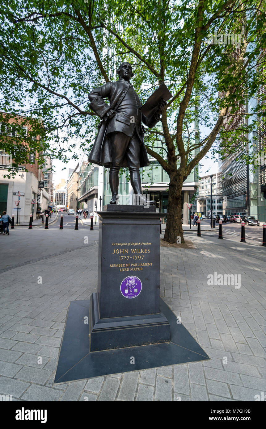 John Wilkes statue by James Butler, Fetter Lane, City of London, UK 1988 - Stock Image