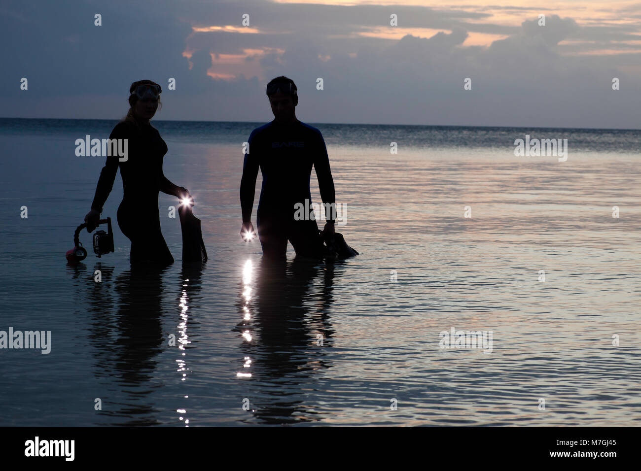 Divers (MR) entering the ocean with lights at dusk, Indonesia. Stock Photo