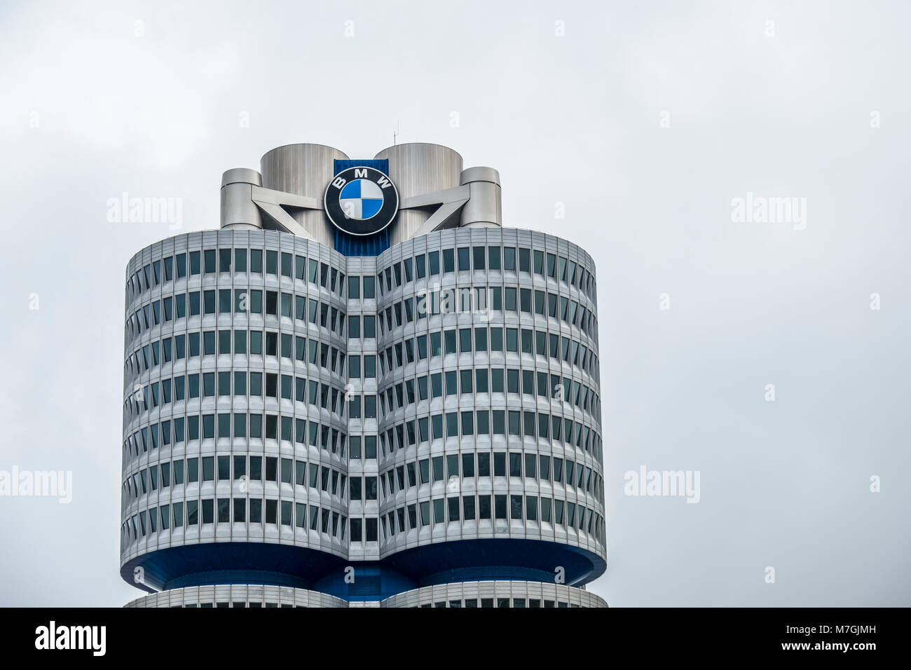 MUNICH / GERMANY - FEBRUARY 15 2018 : The BMW headquarters are located in the city of Munich Stock Photo